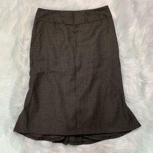 Brown pencil skirt ruffle by Banana Republic